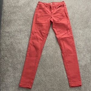 So low rise coral skinny jeans